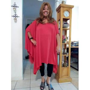 Casual Batwing Sleeve Asymmetric Plus Size Top For Women