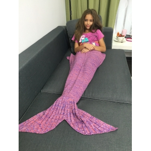 Stylish Yarn Knitted Sleeping Bags Mermaid Tail Shape Blanket - Deep Pink