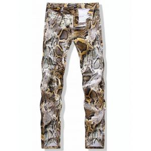 Snake-Skin Print Casual Pants - Colormix - 32