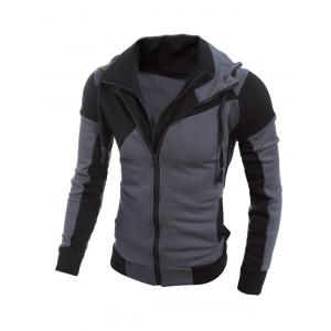 Color Spliced Long Sleeve Double Zipper Hoodie For Men - Black - L