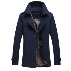 Epaulet Design Turn-Down Collar Single Breasted Long Sleeve Coat For Men - Deep Blue - M