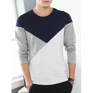 Round Neck Long Sleeve Color Block Tee - Purplish Blue - M
