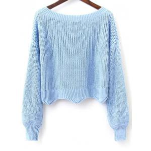 Long Sleeves Scalloped Cropped Sweater -