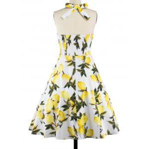 Tea Length Halter Neck Lemon Print Vintage Dress - YELLOW M