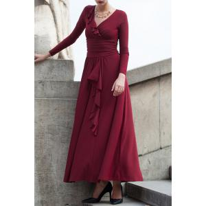 Ruffle Ruched Long Sleeve Maxi Evening Dress - Wine Red - Xl