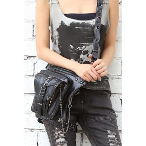 PU Leather Metal Chain Cross Body Bag - Black - One Size