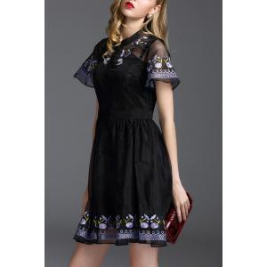 Floral Embroidered Mini Fit and Flare Dress - BLACK S