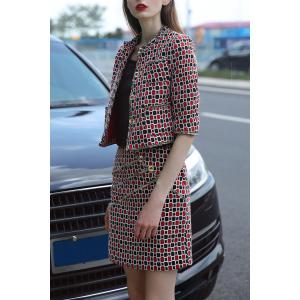 Buttons Checked Blouse and Plaid Bodycon Skirt -
