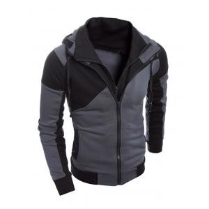 Color Spliced Long Sleeve Double Zipper Hoodie For Men - BLACK 2XL