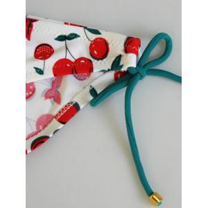 Cute Cherry Print Twisted Bikini Set For Women -