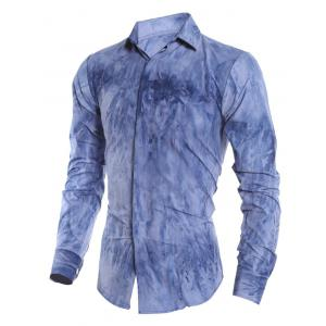 Tie Dye Turn-down Collar Long Sleeve Shirt For Men - DEEP BLUE L