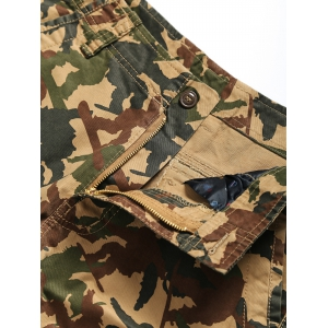 Zipper Fly Straight Leg Pockets Embellished Camouflage Shorts - CAMOUFLAGE 3XL