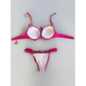 Alluring Halter Neck Bowknot Printed Bikini Set For Women - ROSE RED L