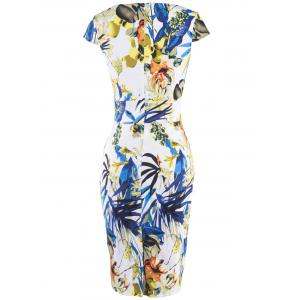 Chic Women's Floral Print High Waist Sheath Dress -