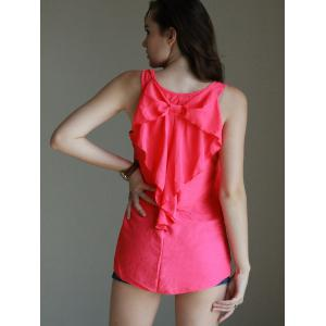 Trendy Scoop Neck Sleeveless Bowknot Design Women's Tank Top -
