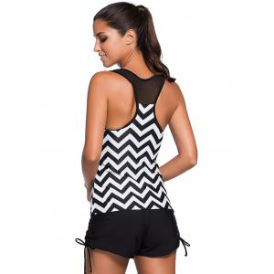 Élégant Zigzag Stripe Mesh Spliced ​​Racerback Swim Top - Rayure XL