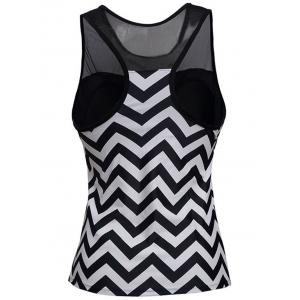 Zigzag Mesh Panel Padded Racerback Tankini Swimwear - STRIPE 3XL
