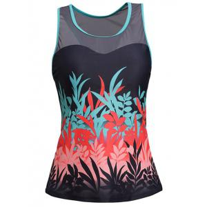 Mesh Panel Padded Racerback Tankini Swimwear - COLORMIX XL