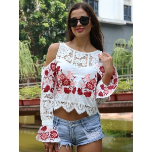 Sweet Women's Floral Embroidered Cold Shoulder Crop Top -