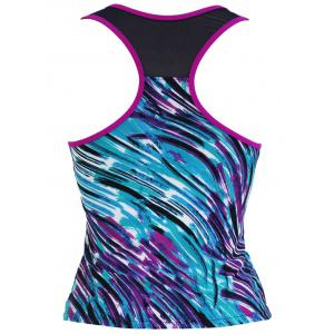 Tie Dye Mesh Panel Padded Racerback Tankini Top - COLORMIX S