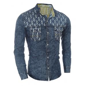 Pockets Front Spliced Snap Button Up Long Sleeve Denim Shirt For Men -