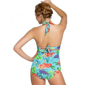 Tropical Print Ruched High Waisted Bikini Set - COLORMIX 3XL