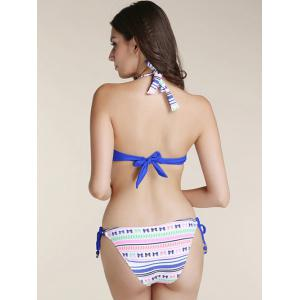 Fashionable Bowknot Printed Bikini Suit For Women - BLUE XL