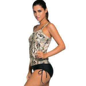 Criss Back Padded Camouflage Tankini Swimsuits - COLORMIX 3XL
