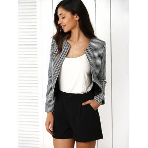 Houndstooth Pattern Coat and Pure Color Shorts Twinset -
