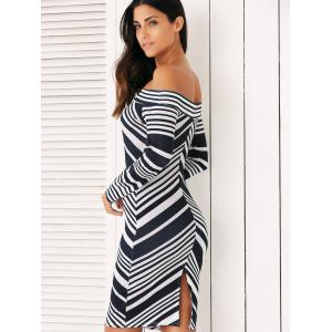 Off The Shoulder Bodycon Striped Long Sleeve Dress -