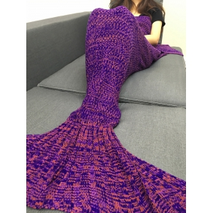 Fashion Multicolor Knitting Sleeping Bag Fish Tail Design Blanket For Adult - PURPLE
