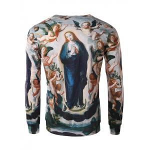 Ave Maria Print Round Collar Long Sleeve Tee For Men - COLORMIX 3XL