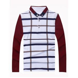 Button Down Long Sleeve Plaid Polo Shirt - WINE RED M