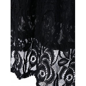 Long Sleeve Maxi Lace Party Prom Dress - BLACK XL