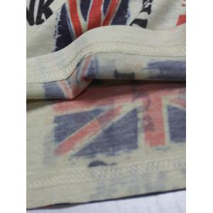 Letter Print Distressed England Flag T-Shirt - BEIGE 3XL