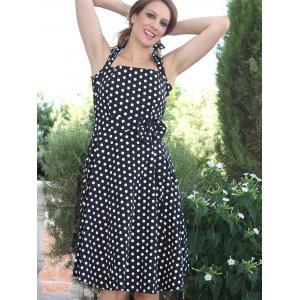 Retro Style Turn-Down Collar Sleeveless Polka Dot Bow Embellished Women's Dress -