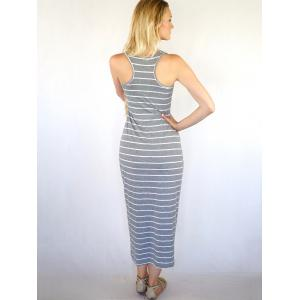 Casual Scoop Neck Sleeveless Striped Women's Maxi Dress -