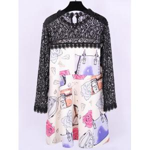 Plus Size Lace Splicing Cartoon Print Dress -