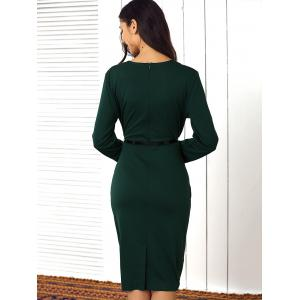 Buttoned Faux Two-Piece Dress For Women - GREEN XL
