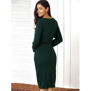 Buttoned Faux Two-Piece Dress For Women - GREEN L