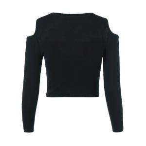 Cut Out Long Sleeve Pure Color Sweater -