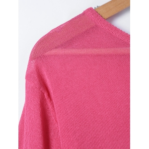 Hit Color Loose Long Sleeve Sweater -