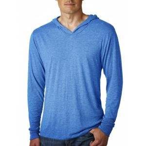 Hooded Pure Color Slim Fit Long Sleeve T-Shirt For Men - BLUE L