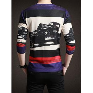 Classic Gran Torino Print Striped Long Sleeve Tee For Men - COLORMIX 3XL