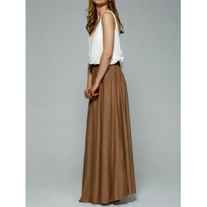 Stylish Color Splice Open Back Maxi Pleated Dress -