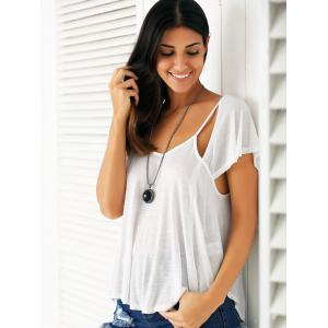 Casual Scoop Neck Cutout Women's Flowy T-Shirt -