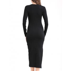 Elegant V Neck Long Sleeve Sheath Slit Knitted Dress -