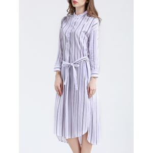 Elegant Long Sleeve Vertical Stripe Belted Slit Shirt Dress -