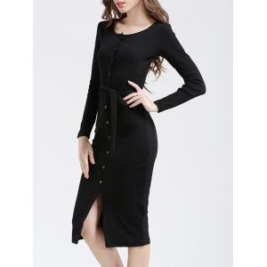 Belted Button Up Bodycon Long Sleeve Midi Jumper Dress -