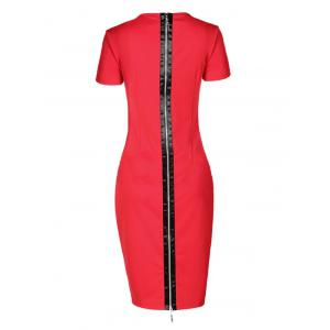 Short Sleeve Mesh Inset Bodycon Dress - RED 5XL